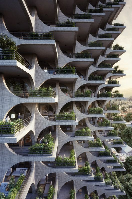 Gallery of Cascading Brick Arches Feature in Penda's Residential Tower in Tel Aviv  7 is part of architecture - Image 7 of 29 from gallery of Cascading Brick Arches Feature in Penda's Residential Tower in Tel Aviv  Courtesy of Penda Austria