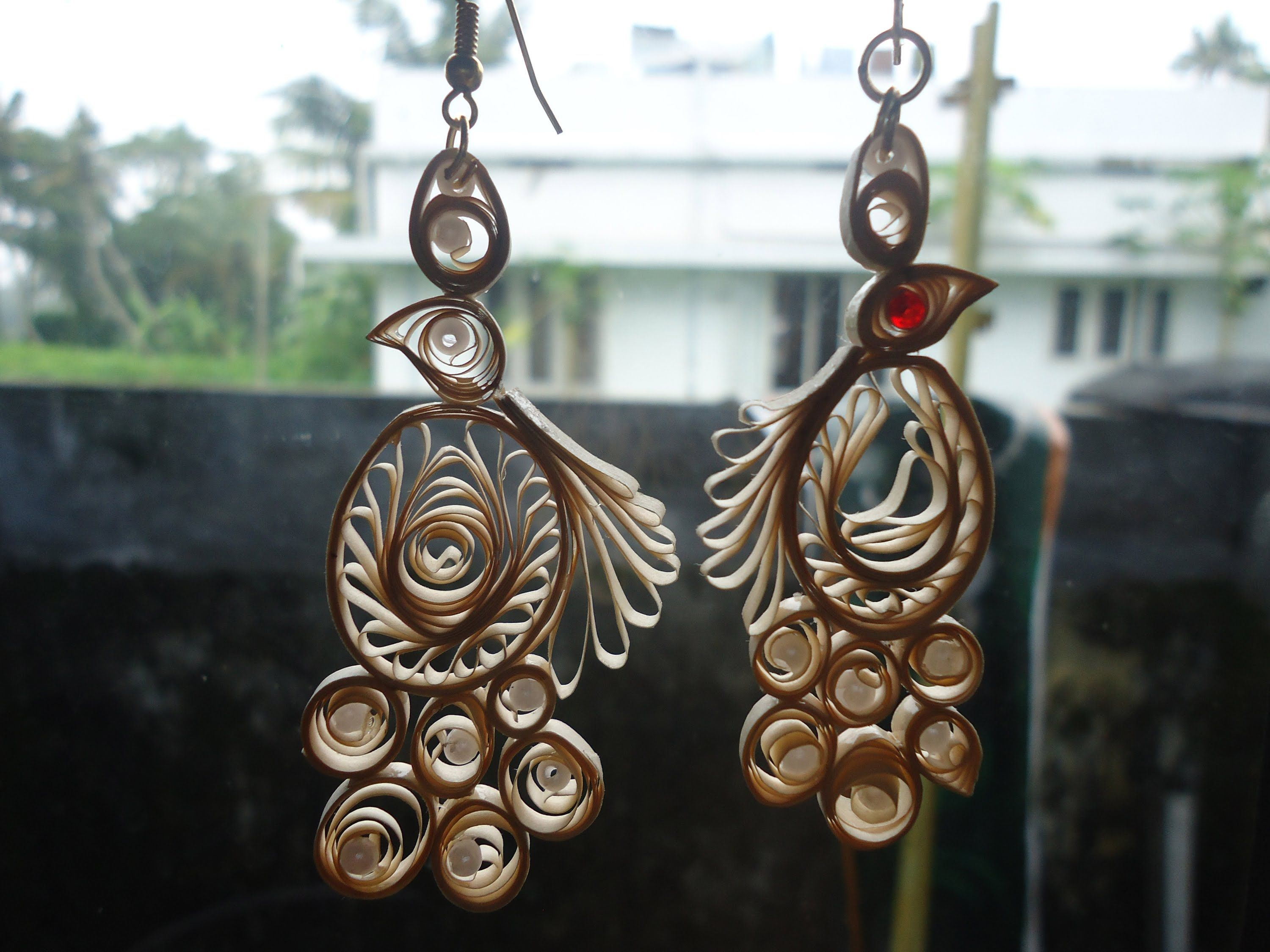 How to make Paper Peacock Quilling EARRING Malayalam