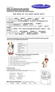 English Teaching Worksheets Ratatouille Kitchen Words Activities For Kids