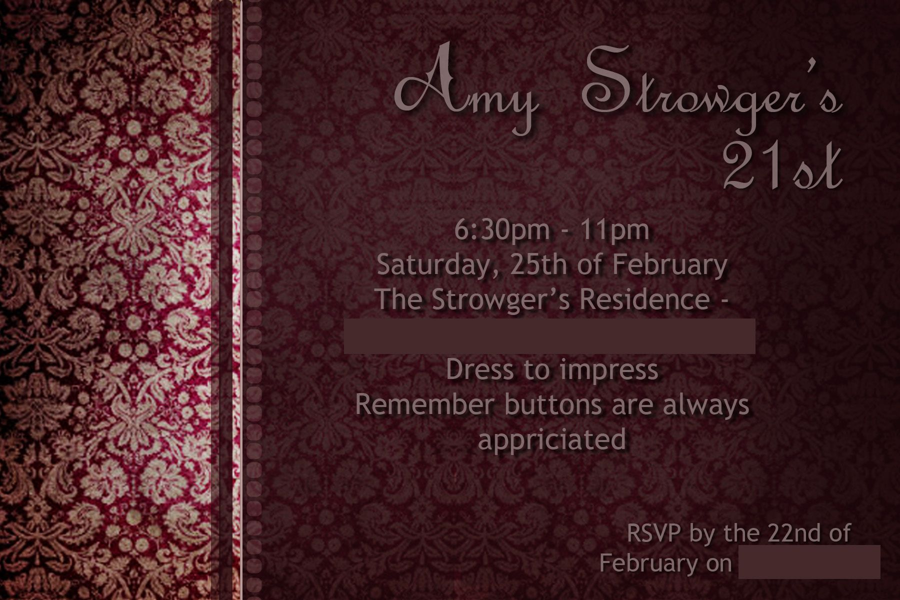 21st Birthday Invitation Created This Using Photoshop For My Elegant