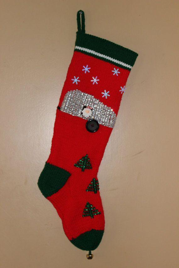 Hand knit teardrop Christmas stocking