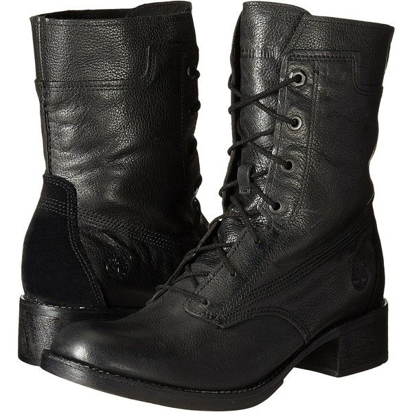 Timberland Whittemore Mid Lace Boot (Jet Black Woodlands) Women's... ($120)  ❤ liked on Polyvore featuring shoes, boots, ankle boots, black, lace up…