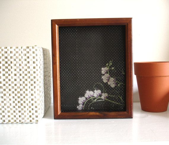 Earring Organizer - Wooden Shadow Box Frame with Orchid Background on Etsy