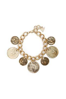 Gold-Tone Coin Charm Bracelet | GUESS.com