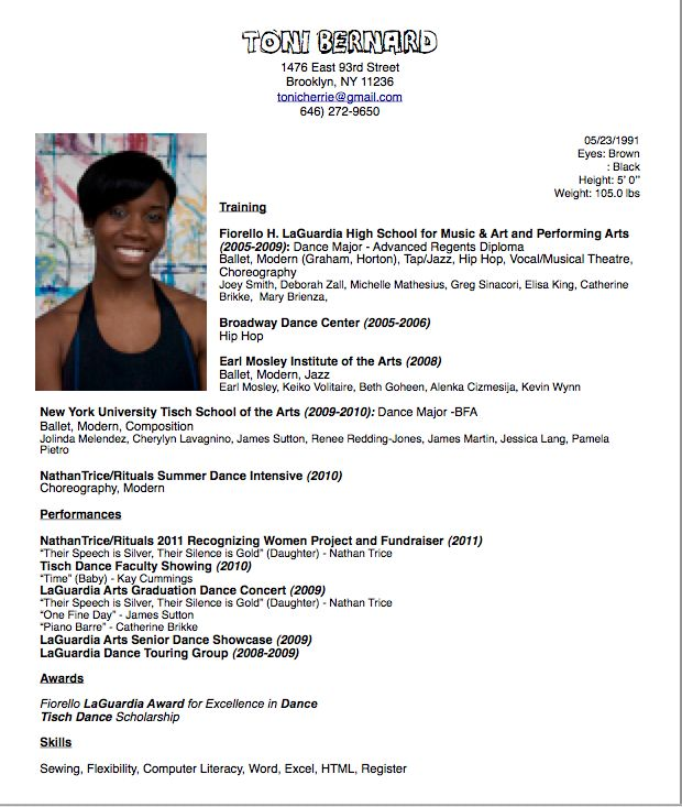 Free Actor Resume Template and Dance Resume for College Audition