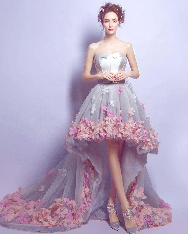 80dee0c1 Unique gray tulle 3D flower high low prom dresses #promdress #prom #dresses