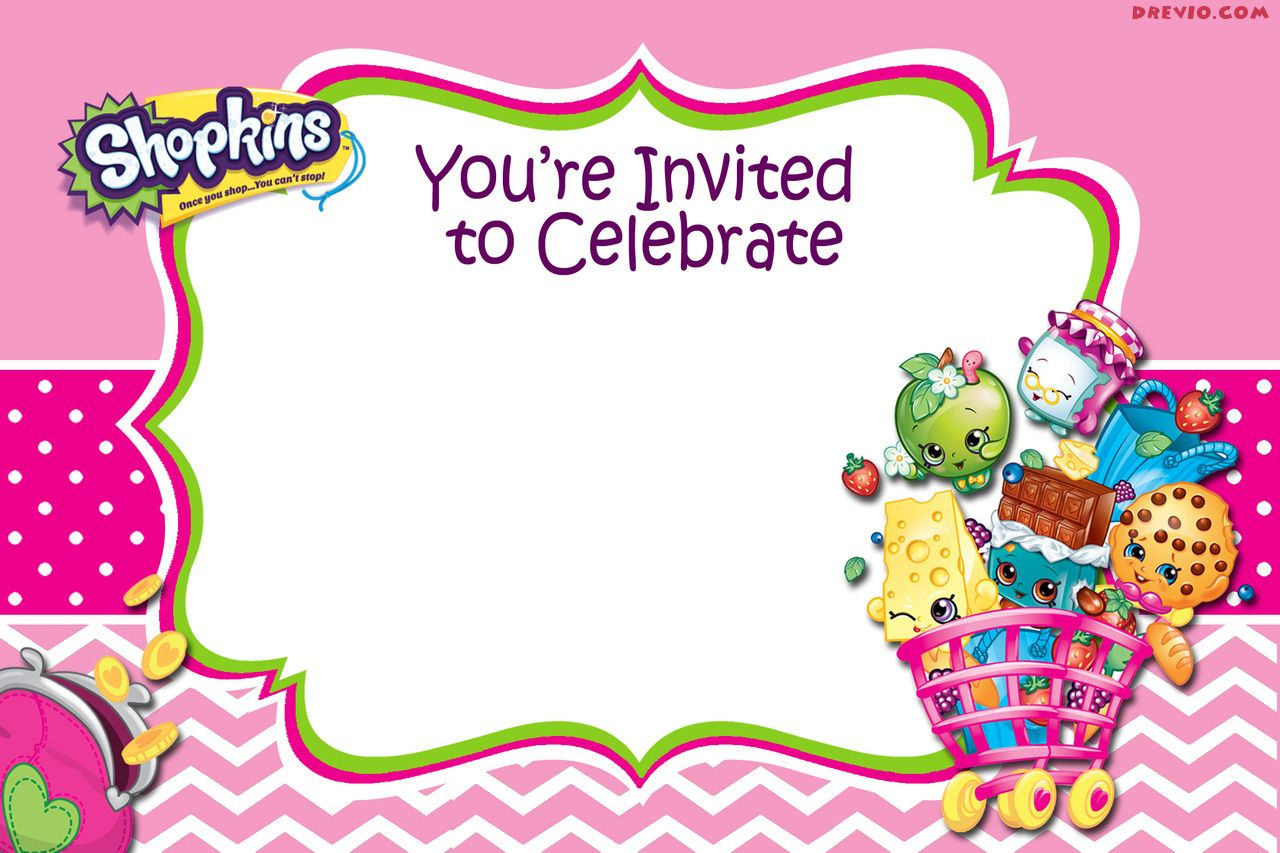 photo regarding Shopkins Printable Invitations titled Current - Absolutely free Printable Shopkins Birthday Invitation