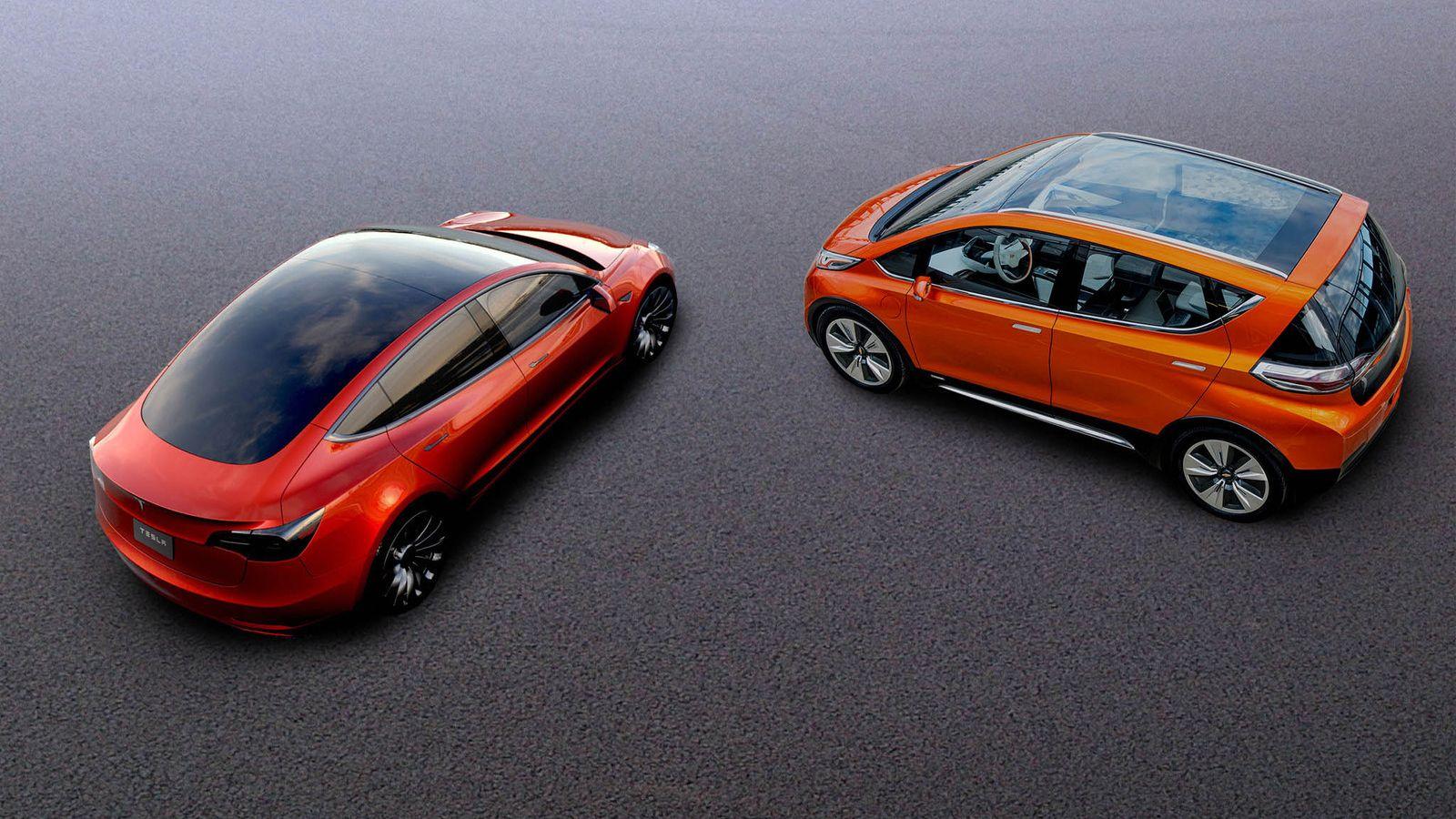 Tesla Model 3 vs Chevy Bolt Electric cars, Car, E electric