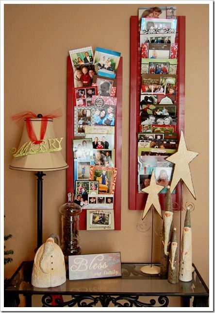 DIY Christmas Card Display. We have these at the church and they are black. Very handy :)