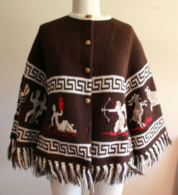 Vintage 70/'s knit poncho cape navajo print tribal fringe button up as is.