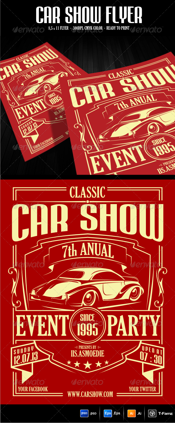 Car Show Flyer Template GraphicRiver DPI With Size - Car show flyer template