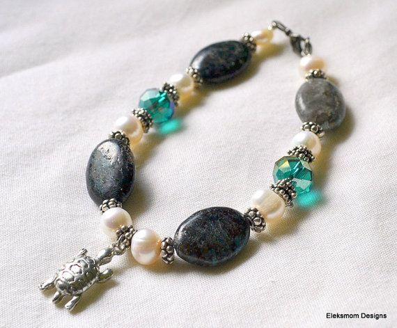 Dark green stone with emerald swarovski crystal turtle bracelet.  Eleksmom Designs.