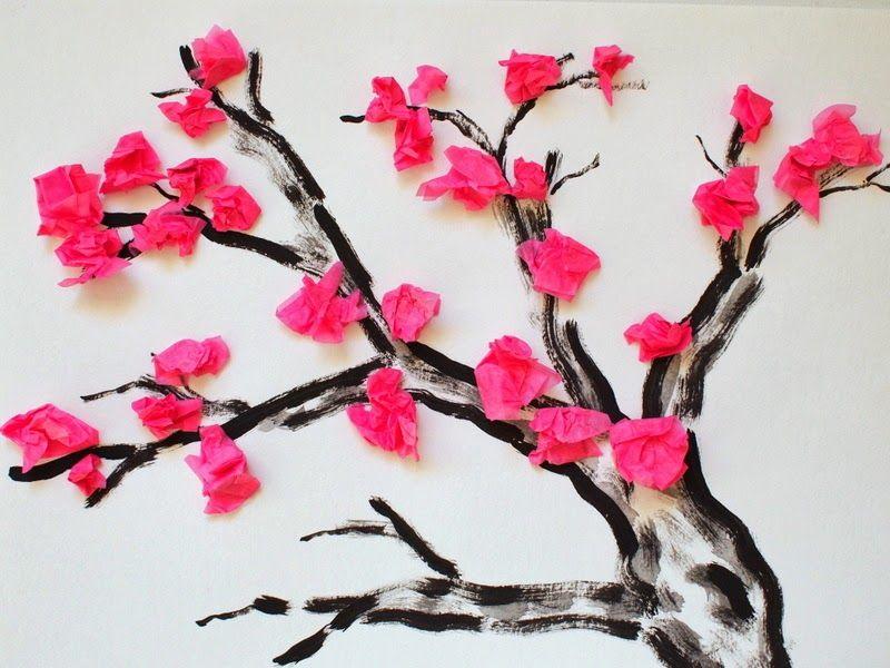 Cherry Blossom Tissue Paper Flower Craft Tree Printable Included Cherry Blossom Art Tissue Paper Art Paper Flower Crafts