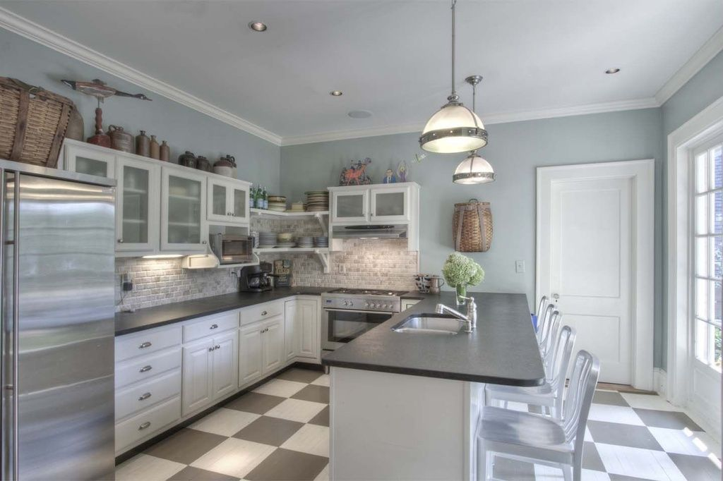 Delightful Cottage Kitchen With Flush Light, Solid Surface Countertop In Deep  Anthracite, Slate Counters,