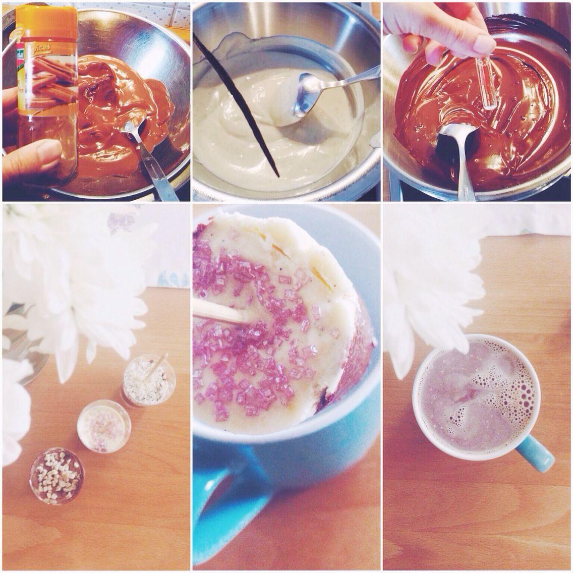 Trinkschokolade.DIY  Verschiedene Varianten: Vollmilch Kokos Zimt, Weiße Schokolade mit Vanille, Zartbitter mit rum und Haselnüssen :)