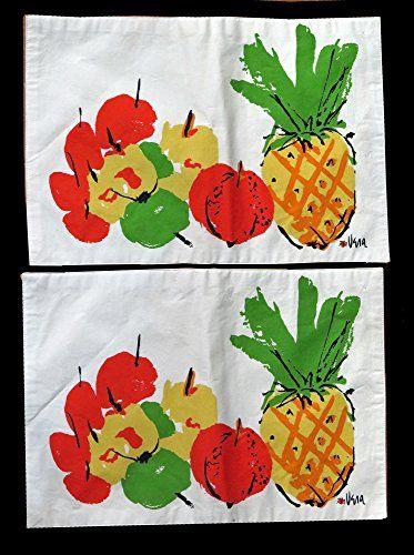 """Vera Neumann Summer Fruit Place Mats 13""""x18"""" - Set of 2 Vera Neumann"""