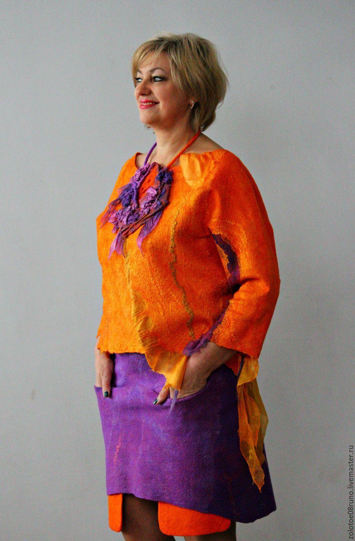 """Купить Комплект блуза и юбка """"Orange summer"""". - оранжевый, однотонный, фиолетовый, яркий комплект, юбка"""