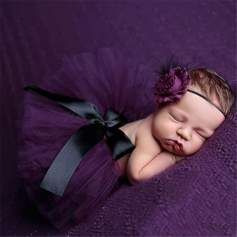 Fashion Infant Newborn Baby Girls Flower Headband Mesh Ball Gown Tutu Skirts Photography Accessory Prop For Christmas Gift