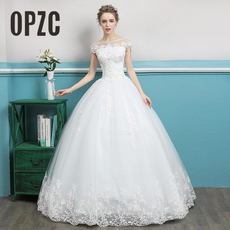 8b78624aaaf97 Find More Wedding Dresses Information about Korean Fashion Simple Ball Gown  Boat Neck Cap Sleeve White