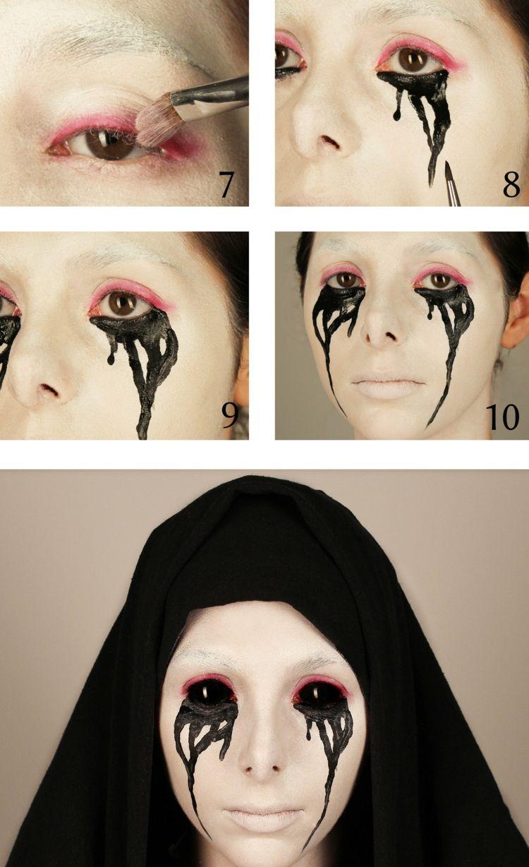 Halloween Gesichter Schminken Nonne Gruselig Kontaktlinse Schwarz