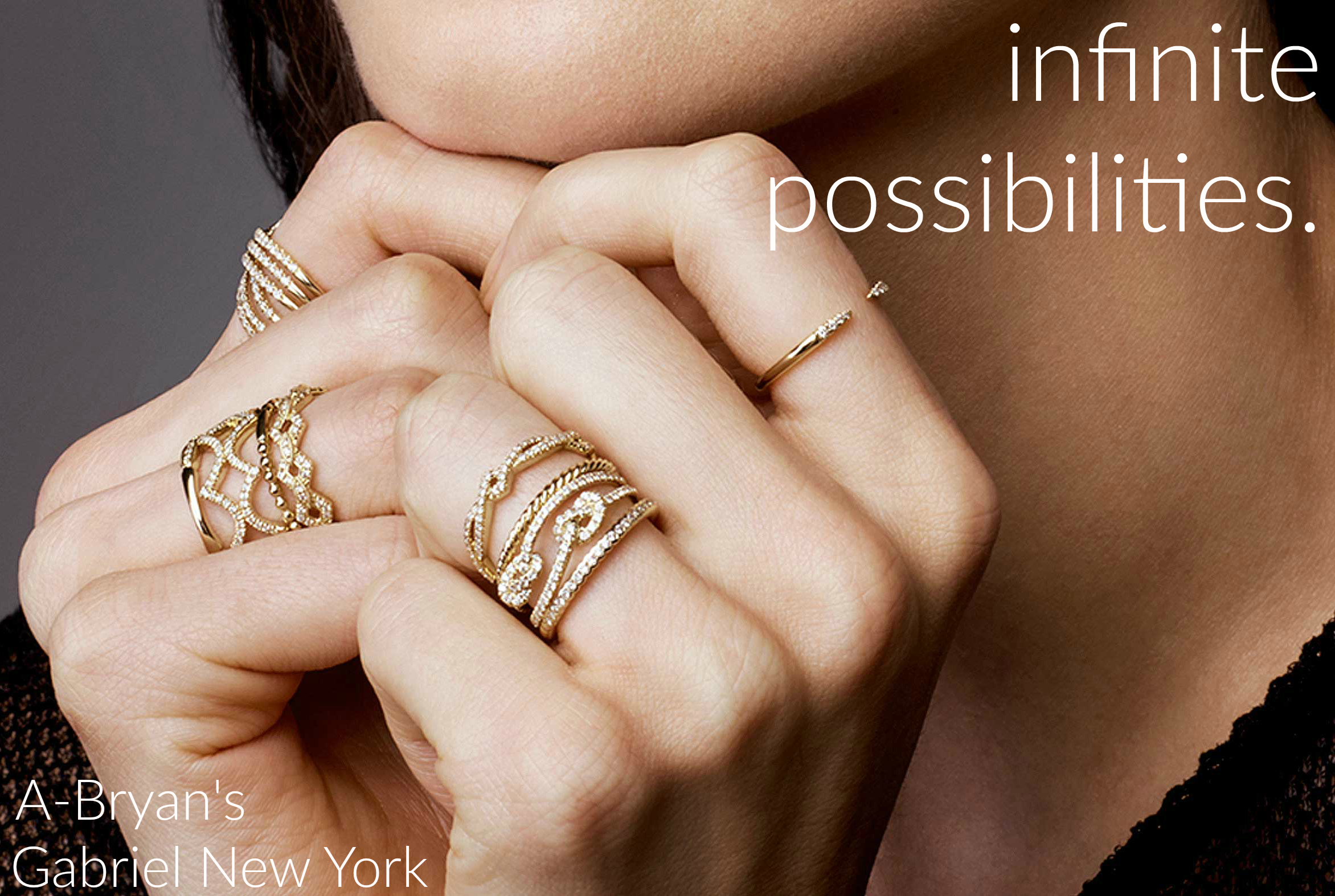 Hmmmm...what to wear...on your fingers...so many possibilities. // Gabriel stackable yellow gold rings