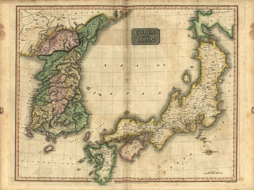 Old map from Korea and Japan in 1815
