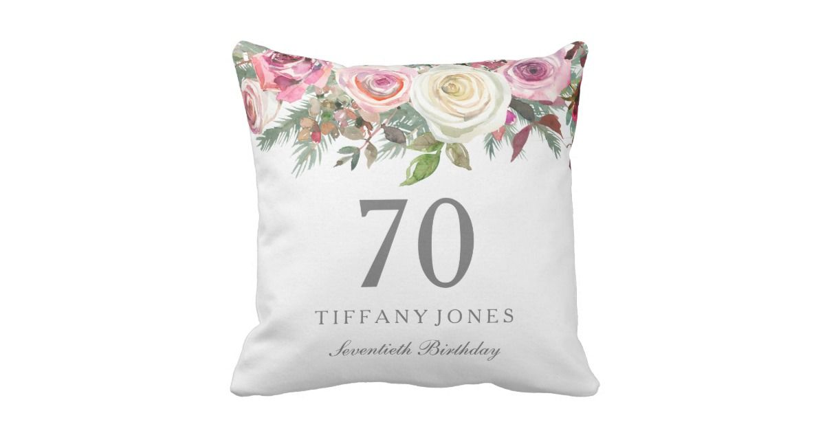 43f27270adc Elegant White Rose Pink Floral 70th Birthday Throw Pillow gift ideas for her.   70thbirthday