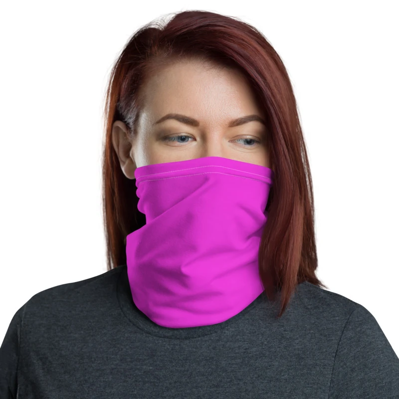 Neon Pink Face Mask Shield, Reusable Washable Headband Bandana-Made in USA/EU