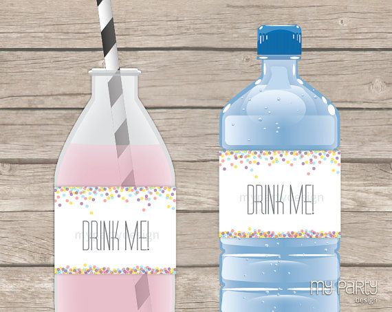 Confetti Party - PRINTABLE Bottle Labels - Instant Download