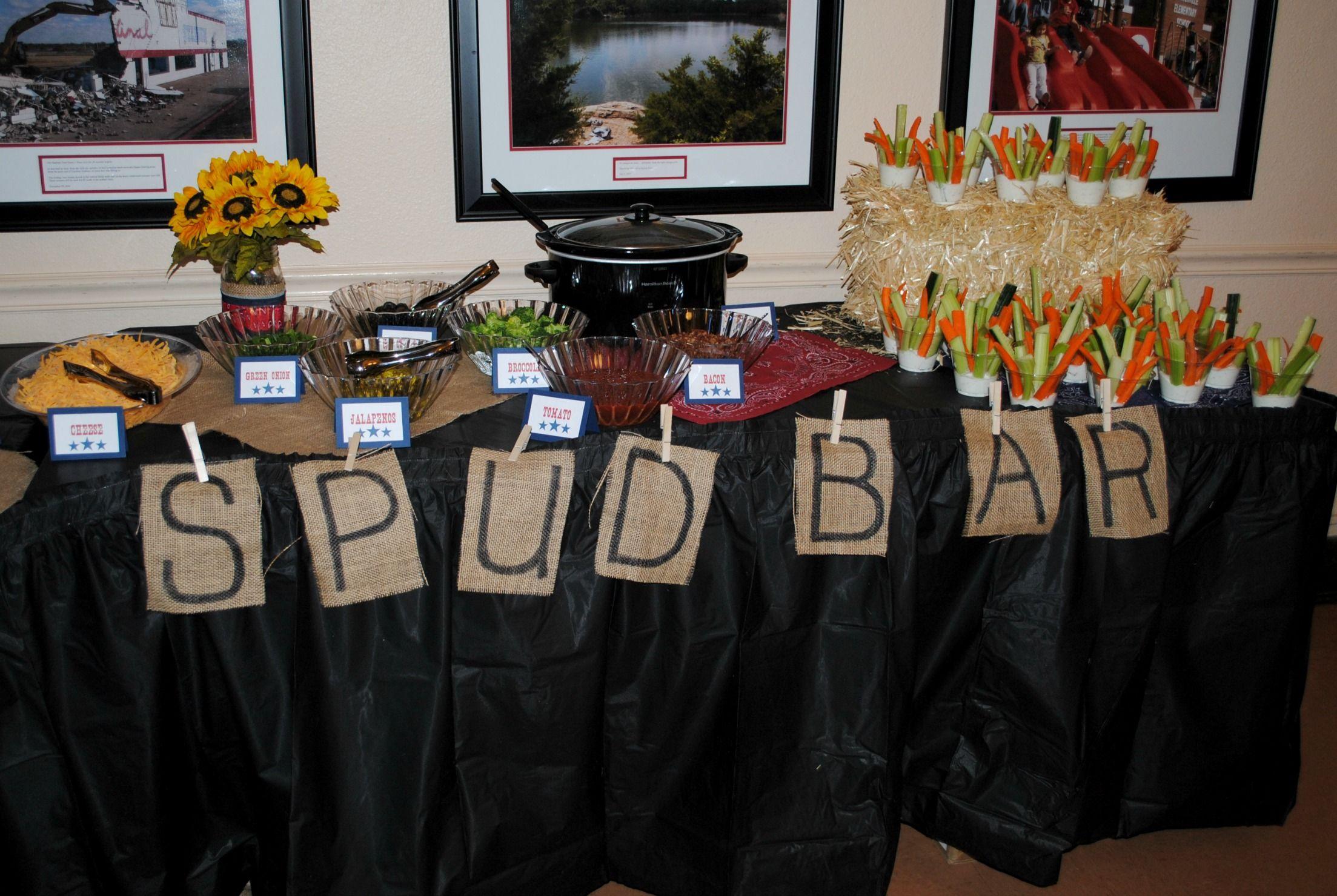Baked potato bar. Western theme party food ideas. Spud bar ...