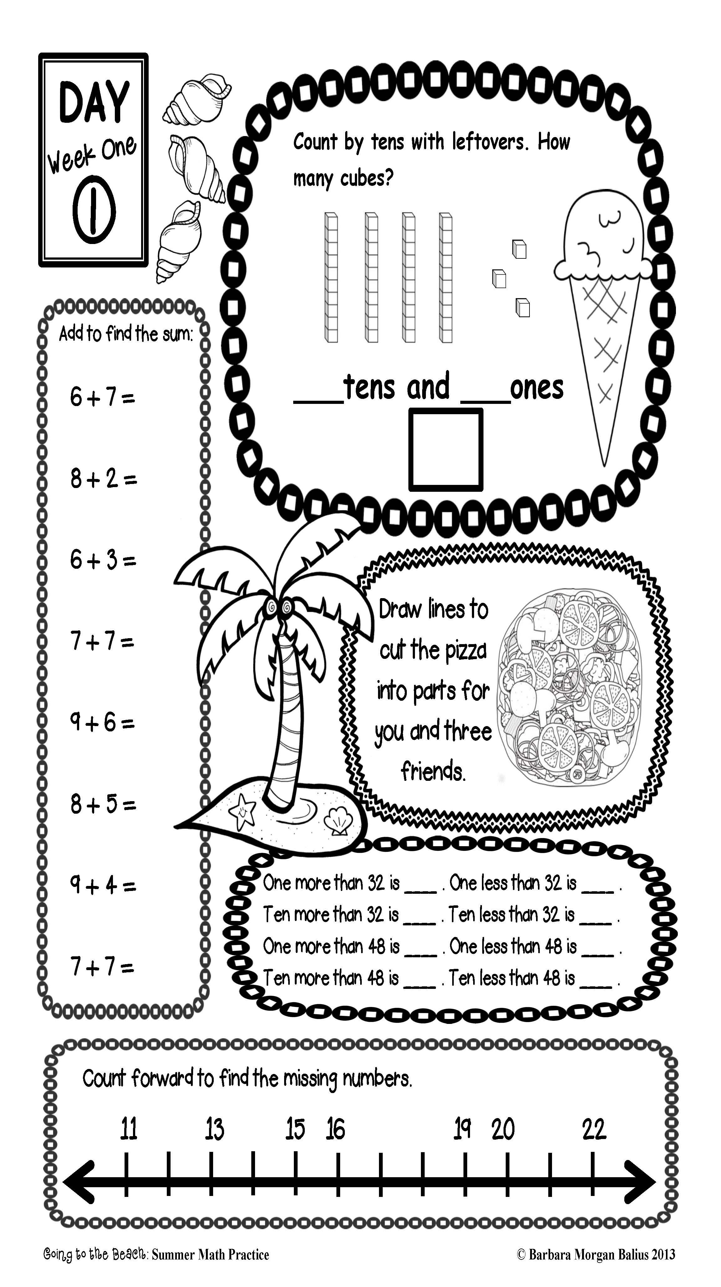 Summer Math Practice First Grade End Of Year