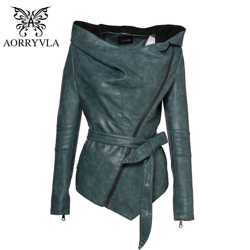 Leather Jacket Full Sleeve Hooded Sashes PU27