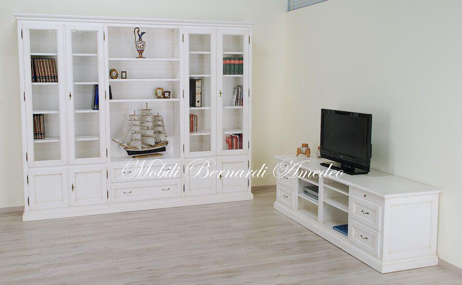 Libreria e mobile per Tv da sala legno massello laccato