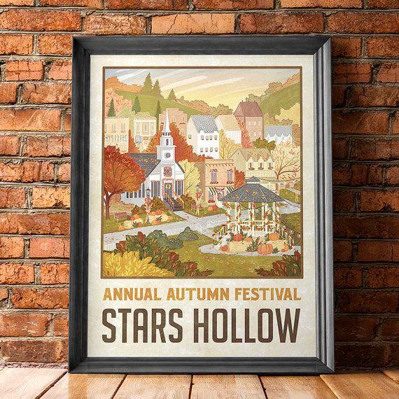 Estrellas huecas Festival de otoño viaje Poster por WindowShopGal