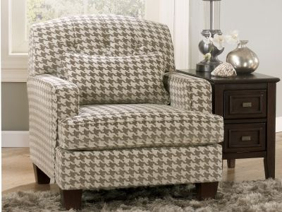 Houndstooth Print Accent Chair