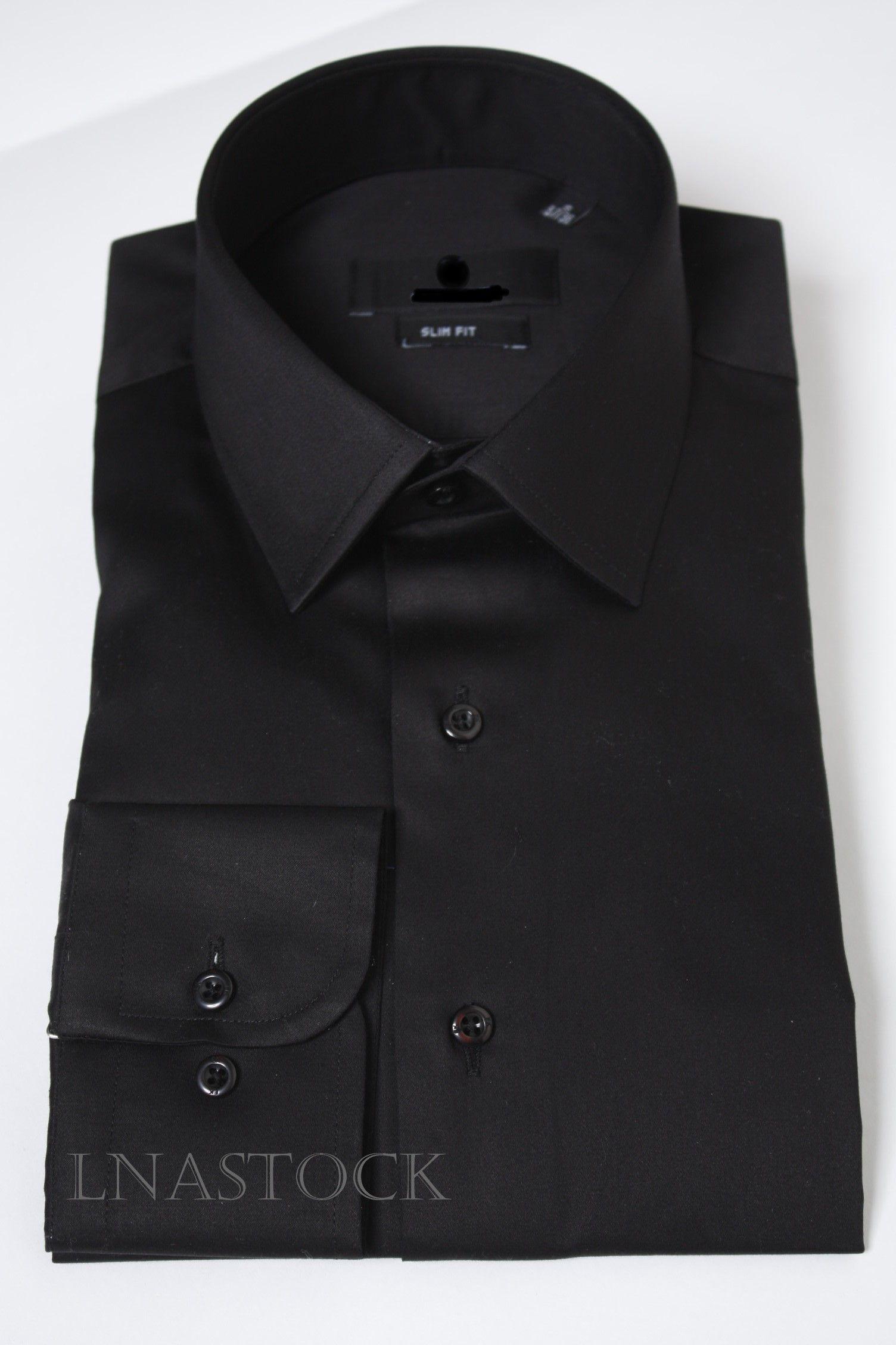 Chemise noire slim fit pur coton   Les chemises cintrées   Chemise ... bdd7773506cb