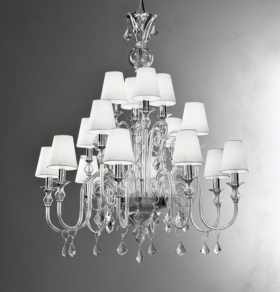 Modern Murano Chandelier With Clear Glass And White Lampshades Crystal Drops L16k
