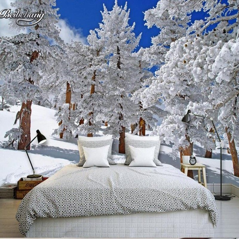 Beibehang Customize Any Size Winter Snow Wallpaper Living Room Tv Background Decorative Wallpaper Papel De Parede 3d W Snowy Forest Mural Winter Snow Wallpaper