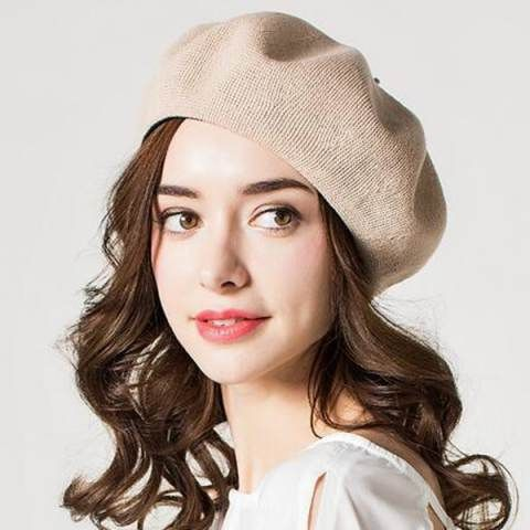 White French beret hat for women knit sun hats spring wear  95254d7421e