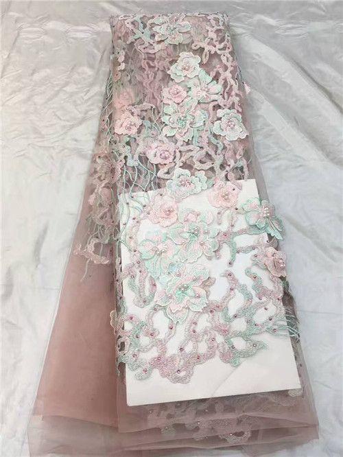 9e5cbc7c3e14f Cheap Venta caliente 3d flor bordada tela de encaje de tul con cuentas de  tela de