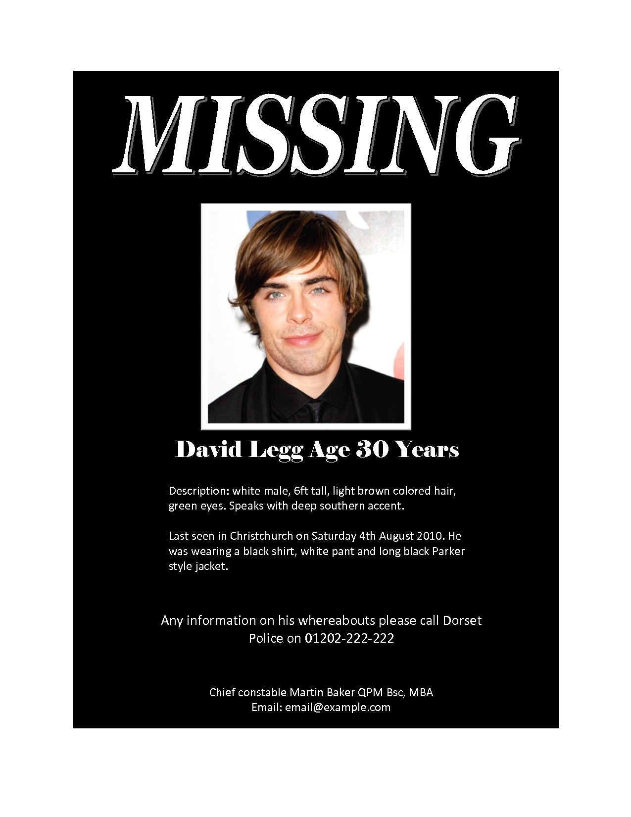 Missing person posters examples