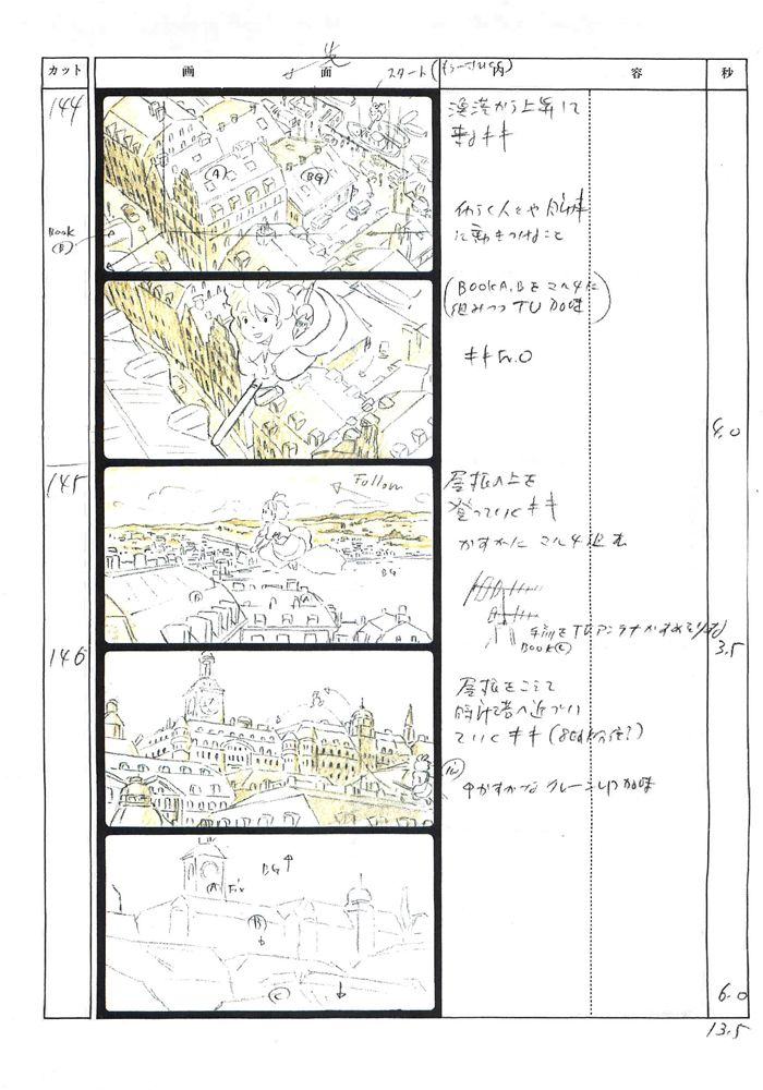 From Studio Ghibli Storyboards Collection 5 Kiki\u0027s Delivery Service - anime storyboard