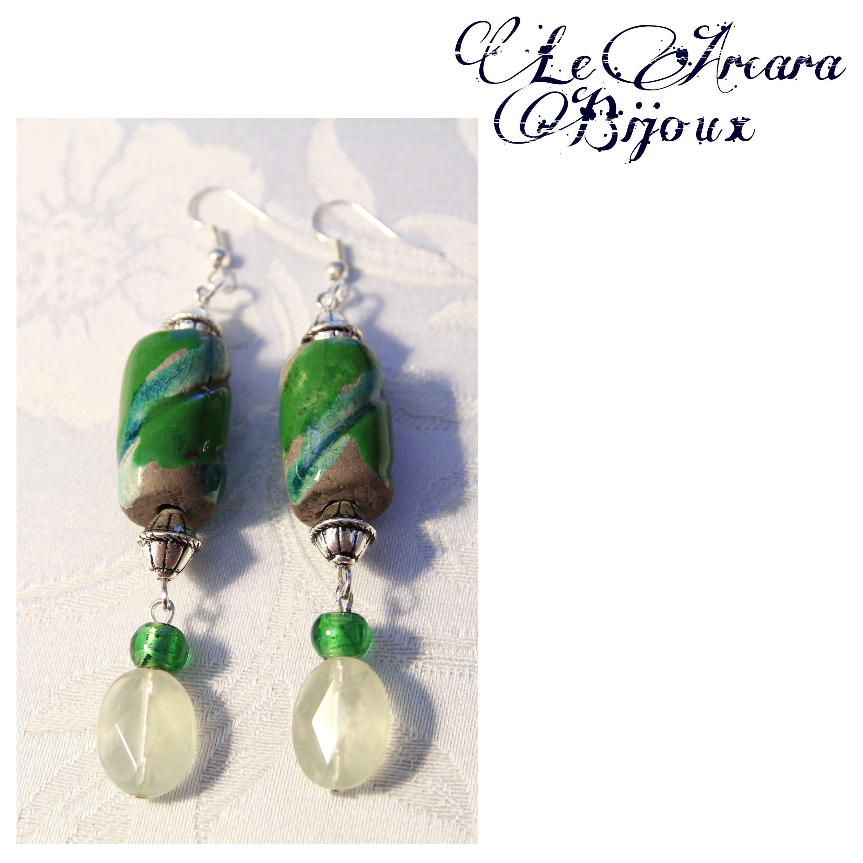 orecchini con perle in vetro, pietre dure e ceramica raku https://www.facebook.com/le.arcarabijoux