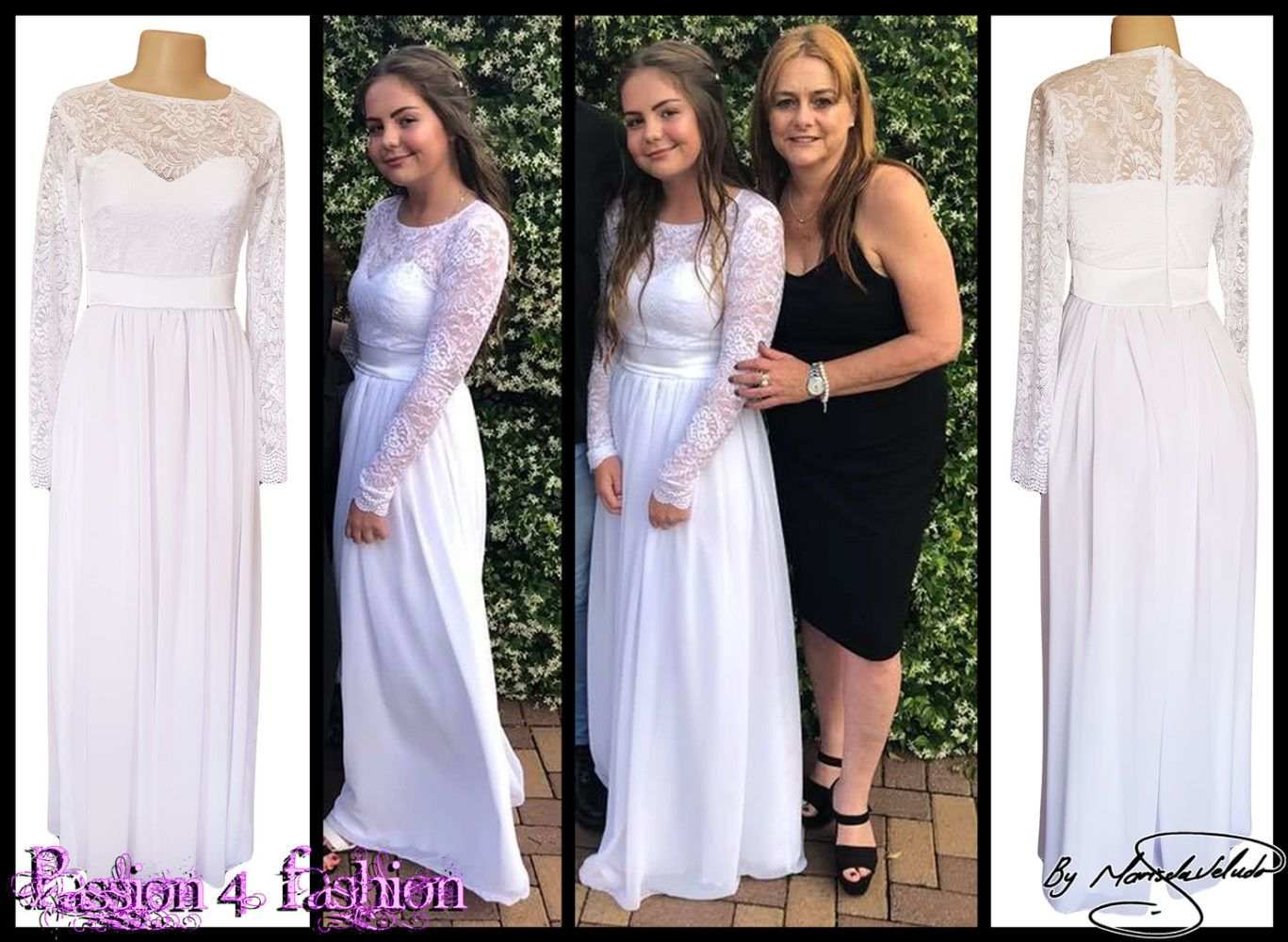 White lace bodice simple confirmation dress