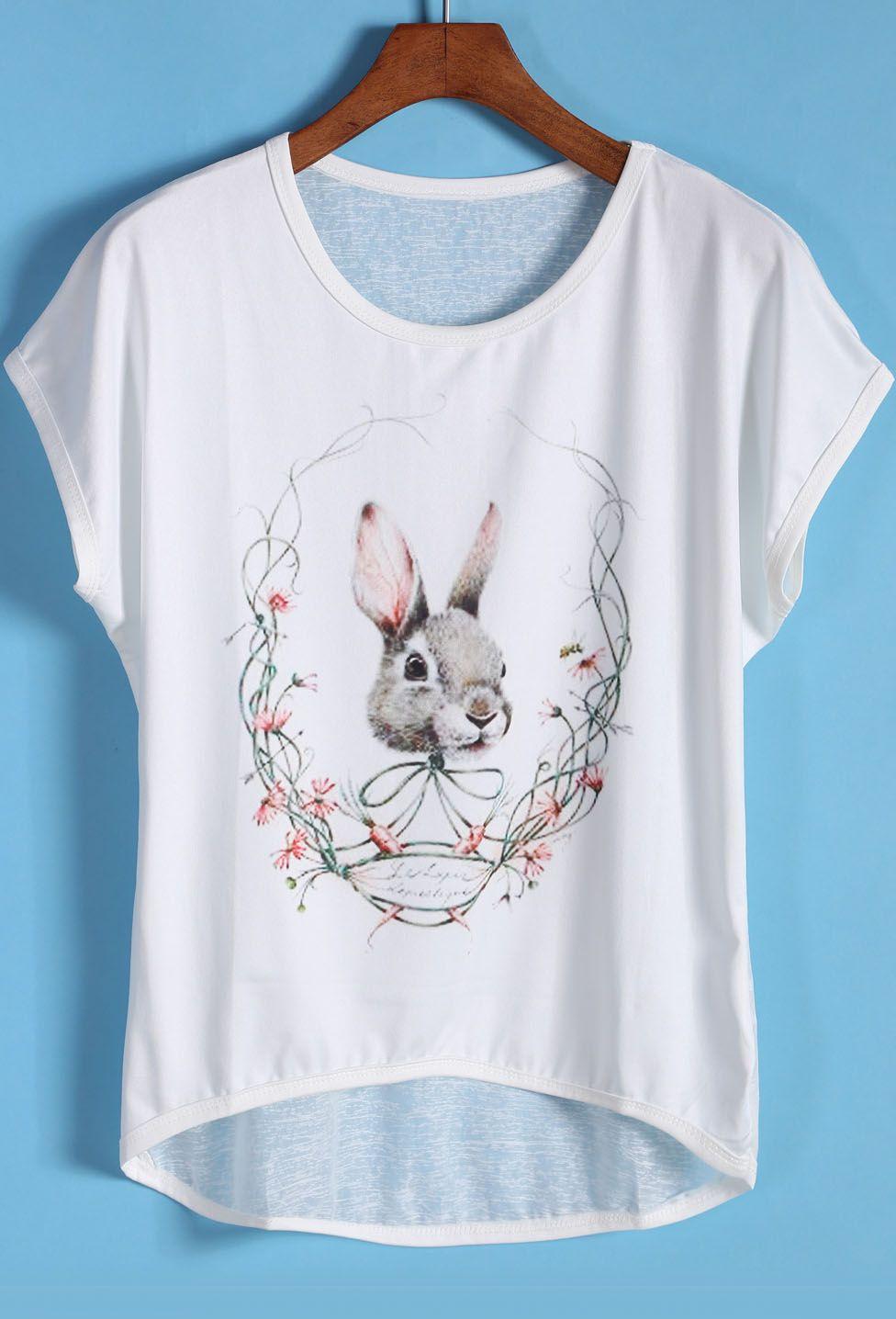 White Short Sleeve Rabbit Print Dip Hem T-Shirt 8.99