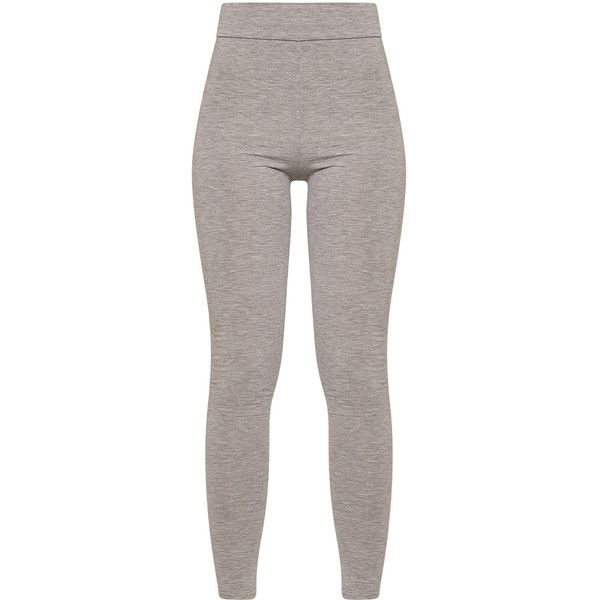 47b58c261c9 Dabria Grey High Waisted Jersey Leggings ( 40) ❤ liked on Polyvore  featuring leggings and bottoms