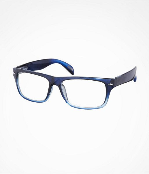Express Mens Blue Ombre Frame Clear Lens Glasses