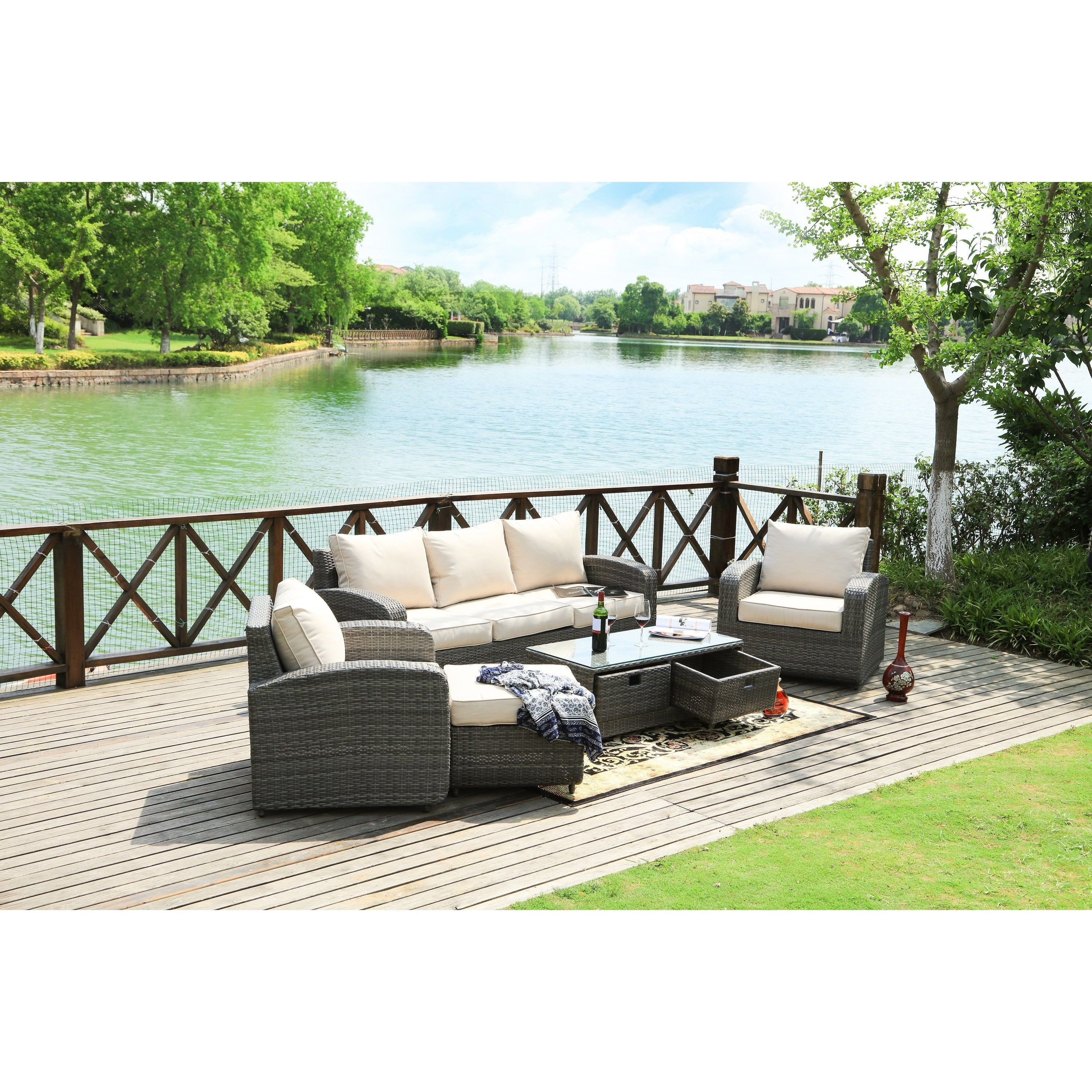 Direct wicker strathmere 5 piece deep wicker seating patio set brown rattan with black cushion size 5 piece sets patio furniture aluminum