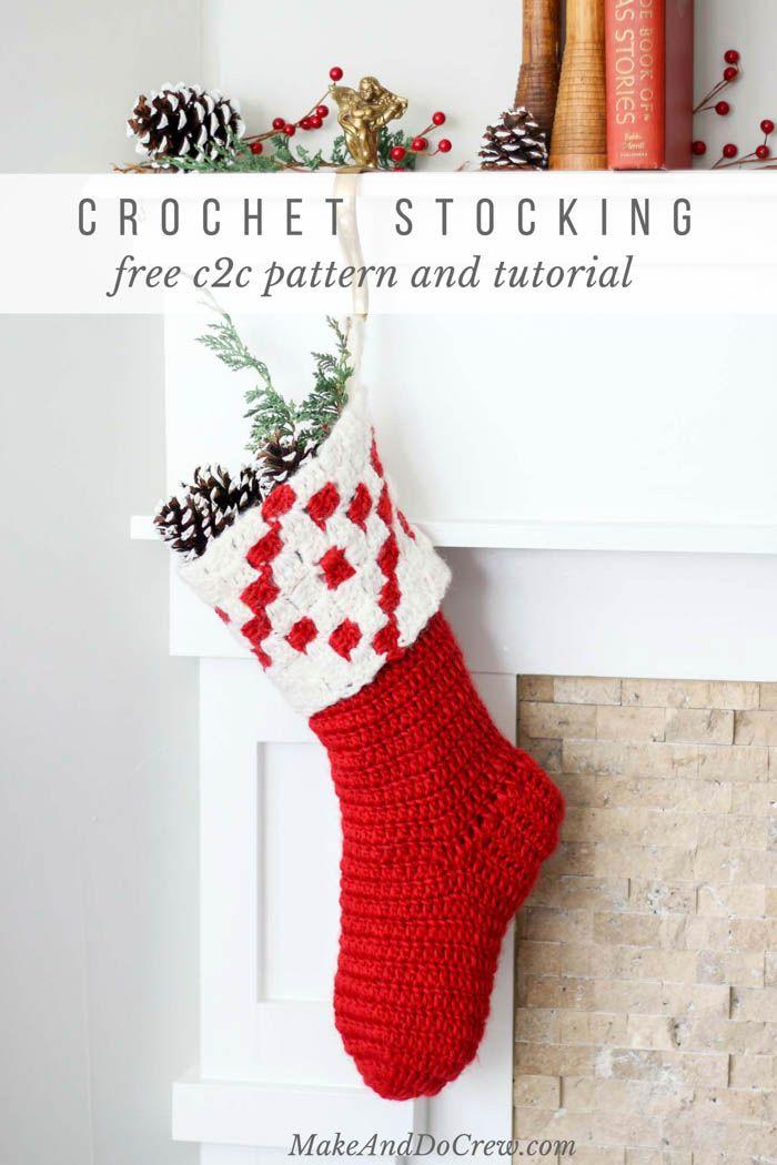 Nordic Crochet Christmas Stocking - Free Pattern + Tutorial | Tejido