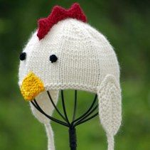 Knitted chicken hat. how cute  14af9e913ff